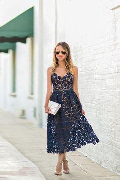 dress made of lace in blue