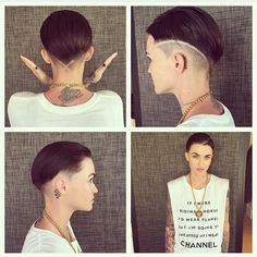This new Ruby Rose hairstyle is a fresh take on the buzzcut. This new Ruby Ro Short Razor Haircuts, Cool Haircuts, Short Hair Cuts, Trending Haircuts, Undercut Hairstyles, Cool Hairstyles, Ruby Rose Style, Rubin Rose, Rose Got