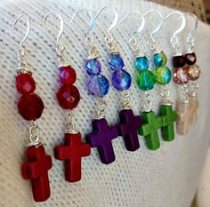 Custom Design Your Cross Earrings ~ Dyed Howlite and Czech Glass. 25% of proceeds donated to animal rescues (The Humane Society of Alamance County OR The Biscuit Foundation).  Find us on Facebook: https://www.facebook.com/SparkleCatStudio