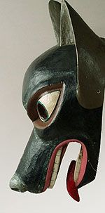Wolf mask; Quechua people, Ecuador, love the expression - reminds me of my own psycho pup