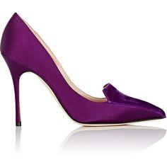 Manolo Blahnik Women's Elatiamod Pumps (17.728.480 VND) ❤ liked on Polyvore featuring shoes, pumps, purple, purple pointy toe pumps, pointy toe pumps, satin pumps, pointed toe high heel pumps and purple pumps