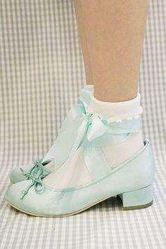 ballet ribbon shoes (ブルー)sizeM - RoseMarie seoir