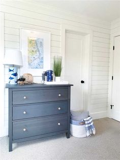 Charming blue and white classic coastal bedroom with shiplap - Summerfell Cottage. If your taste leans toward sophisticated and understated beachy style, you'll fall in love with the white warm minimal coastal design inspiration here! Beach House Tour, Beach House Bedroom, Beach House Decor, Home Bedroom, Home Decor, Beach Cottage Bedrooms, Cottage Bedroom Decor, Cottage Furniture, Bedroom Furniture