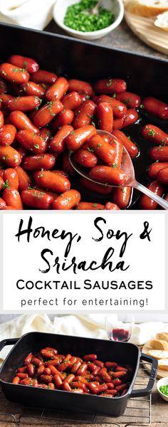 Honey, Soy & Sriracha Cocktail Sausages   eatlittlebird.com