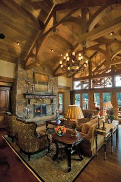 Rustic Living Room or Great Room.. log cabin in the mountains, interior design ideas and decor