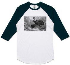 theIndie Australian Bush Cassowary (Black) 3/4-Sleeve Raglan Baseball T-Shirt