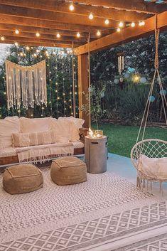 Backyard Patio Designs, Backyard Makeover, Outdoor Living, Outdoor Decor, Outdoor Rooms, Porch Swing, Outdoor Patio Swing, Pergola Patio, Pergola Ideas