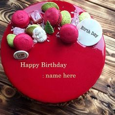 write name on best heart red velvet birthday cake picture. red velvet happy birthday cake for lover with name editor. write any name on heart shaped red velvet birthday cake