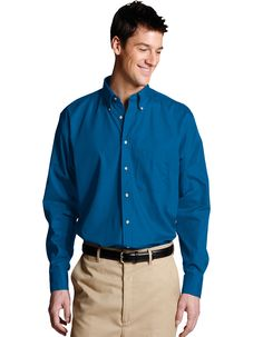 Edwards long-sleeve poplin shirt from Edwards is soft, durable, and available in different colors. This performance poplin stands up to demanding wear and features soft ringspun fabric,Button down collar with wood tone buttons,One pocket on the left chest and a back box pleat. This easy care men's shirt features moisture wicking material and is wrinkle resistant with soil release.