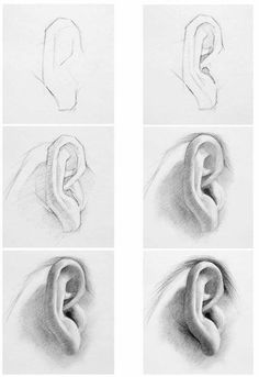 Pencil Drawing Ear Pictures Sample Pictures How to draw ear with pencil drawing techniques … Pencil Art Drawings, Realistic Drawings, Art Drawings Sketches, Drawing Faces, How To Draw Realistic, Male Drawing, How To Draw Ears, Learn To Draw, Drawing Lessons