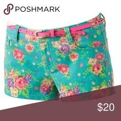 NWT Wall Flower Floral Shorts Brand new!! Comes with cute pink studded belt!! Wallflower Shorts Jean Shorts