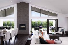 LIZ - perfect inspiration for raked ceiling high glass windows centre two sided fireplace bifolds House Design, House, Home, House Roof, Open Plan Kitchen Dining Living, House Inspiration, New Homes, Raked Ceiling, Open Plan Living
