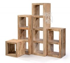 Set of Solid Mango Cubby Bookcases -One of Each Height to Make Wall Unit