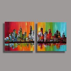 Olio dipinta a mano pittura astratta moderna con telaio allungato Set di 2 – EUR € 82.49
