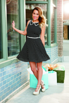 lc lauren conrad: black and white mini polka dot dress with white piping {perfect for date night}