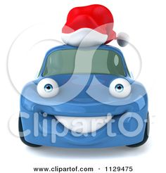 Clipart Of A 3d Blue Porsche Car Wearing A Santa Hat - Royalty Free CGI Illustration by Julos