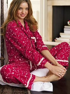VS pajamas- button up top and long pants. I like this print :-)