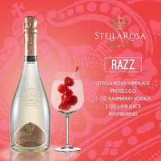 Stella Rosa Wines original cocktail recipe: Razz. -- Combine 1 oz. raspberry vodka, 2 oz. lime juice and Stella Rosa Imperiale Prosecco. Garnish with raspberries.