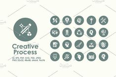 Creative Process simple icons Graphics It is a set of Creative Process simple web icons.- Fully editable vector file saved as (for by Palau Simple Icon, Icon Collection, Business Icon, Image Editing, Icon Pack, Vector File, Icon Design, Infographic, Cool Designs