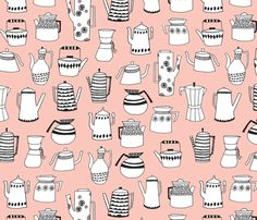 Coffee and Tea - Pale Pink by Andrea Lauren fabric by andrea_lauren on Spoonflower - custom fabric