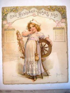 Gorgeous 1900 Frances Brundage Advertising Calendar w/ Darling Little Girls