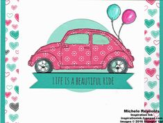 card classic car VW Volkswagen beetle - bil folkevogn - balloon - Beautiful Ride Balloons and Hearts Bug