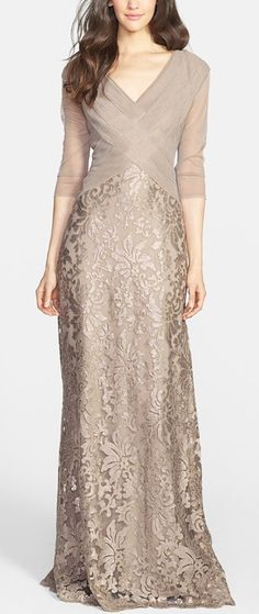 Cheap mother of bride, Buy Quality mother of bride dress directly from China mother of the bride Suppliers: Elegant Mother of the Bride Dress V-Neck Khaki Lace Pleats Vestidos De Festa Half Sleeves Floor-Length Evening Prom Dresses Wedding Dress Chiffon, Lace Dress, Batik Dress, Lace Maxi, Lace Bodice, Mob Dresses, Formal Dresses, Bride Dresses, Wedding Dresses