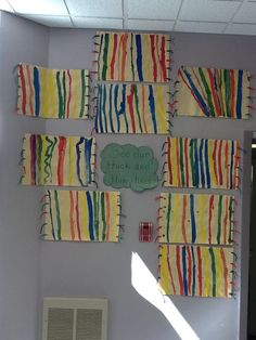 Kindergarten - Art Projects - we learned about thick, thin and straight lines. The children painted blankets, then added fringe around the edges