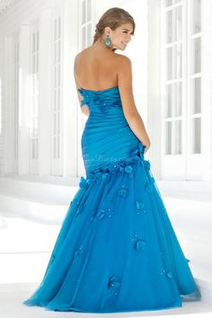 trumpet long applique ruching draping crystals prom dress - Gindress.com
