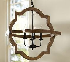 You must see this displayed to appreciate its beauty! Paloma Wood Chandelier #potterybarn