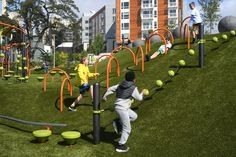 Urban playground, Playground design, Cool playgrounds, School playground design, Terrace park, Park playground - Climbing structures, roller slide, play fields and terrific views -  #Urbanplayground Kids Indoor Playground, Park Playground, Playground Design, Parkour, Cool Playgrounds, Natural Playgrounds, Play Spaces, In China, Backyard Games