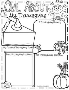 Owl About My Thanksgiving Posters.  Students can write about their Thanksgiving traditions.  $