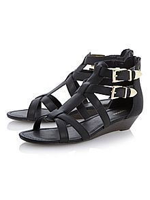 Gateau double buckle gladiator sandals