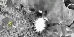 En las imágenes, captadas por un dron, se aprecian los primeros bombardeos de los aviones de combate de la Fuerza Aeroespacial de Rusia.