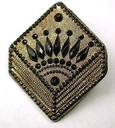 Antique Black Glass Button w/Fancy Faceted Square Box Design & Gold Luster,  WOW!!!