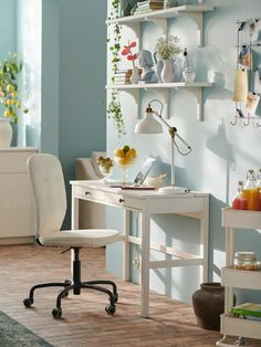 Ikea Hemnes Desk, Ikea Us, White Stain, Desk With Drawers, Bedroom Office, Home Furnishings, Solid Wood, Room Decor, House Design