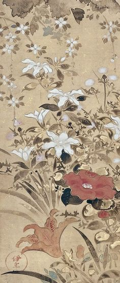 Detail. Flowers of Summer. Tawaraya Sōsetsu (俵屋宗雪; fl. 17th century). Edo period, first half of the 17th century. Japanese hanging scroll; ink, color, and gold on paper. Minneapolis Institute of Art.