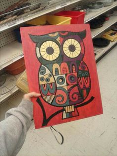 Hand  painted owl thrift store find $2