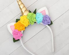 Unicorn Horn Headband with Rainbow Flowers, Gold, Unicorn Crown, Silver Spiral Horn, Felt, Roses, Halloween, Dress Up, Cosplay, Pony