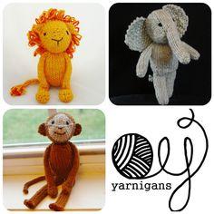 Three Pattern Special - Jungle Animals knitting patterns pdf. $8.50