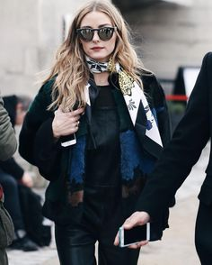 Olivia Palermo at Elie Saab Fall 2016: coloured fur jacket, print silk scarf, black leather overalls