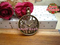 3pcs Antiqued Brass Clock Charm  SD685 by ministore on Etsy, $1.75