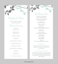 Wedding Program Template – Tea Length - Leaves and Branches (Gray and Mint Seafoam) - Instant Download - Editable MS Word File