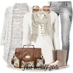 creamy outfit Stylish winter wear for woman  http://www.justtrendygirls.com/stylish-winter-wear-for-woman/