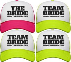 Cute Team Bride Bachelorette Party Neon Trucker Hats for all the bridesmaids and bride to be. Great for the beach and poolside in Vegas.