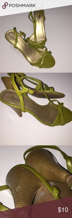 Shimmery green shoes Open toe shimmery green shoes. Does have scratches on heels as shown in pic. Dexter Shoes Heels