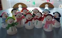Bonhommes de neige - Noël - Galerie - Forums-enseignants-du-primaire Ice Crafts, Clay Pot Crafts, Snowman Crafts, Crafts For Kids, Diy Christmas Ornaments, Christmas Angels, Christmas Snowman, Holiday Crafts, Theme Noel