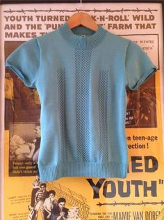 Vintage 1940s/50s/60s Duck Egg Blue FITTED Stretch Top Tight Jumper XS/S 6 8 10 $60ish