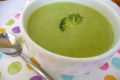Broccoli soup Morphy Richards Soup Maker 500 gr broccoli 2 cloves garlic Chilli pepper One diced potato Salt, pepper Olive oil Vegetable stock Fry garlic and chilli in pan in olive oil Add broccoli and stir until softened and reduced in volume Place all ingredients in Soup Maker Fill with stock to min/max mark Smooth setting Serve with crusty bread