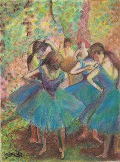 Bailarinas de Degas. Reproducción. Pastel